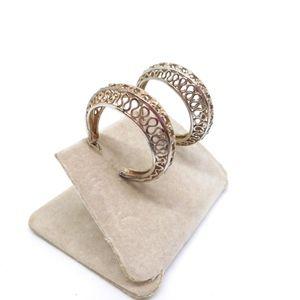 Jewelry - Silver Filigree Hoop Post Earrings
